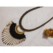 Handmade Silk Thread Necklace - Black