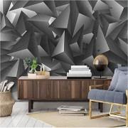 ponana Papel Pintado Mural Personalizado Moda Moderna Gris 3D Geometría Estéreo Wal Pintura Sala De Estar Dormitorio Telón De Fondo Fondos De Pantalla-200X140Cm