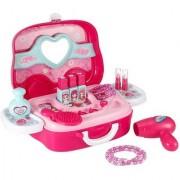 DollsnKings Makeup Kit Pretend Play Toys For Girls 17 Pcs Pink