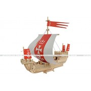 3D Real Wood Ships Boats Aircrafts Submerines Educational Assembly DIY Toy Wooden Figure Model Puzzle (Kogg Uessel of Hanseatic Union Ship)