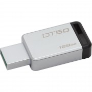 Stick de memorie Kingston DataTraveler 50 128GB USB 3.0 gri metal + negru