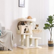 Ansamblu joaca pisici cu elemente reglabile Stalpi inveliti in sisal Stabil Bej 112 cm