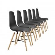[en.casa]® Елегантен стол Honolulu комплект от 6 броя, дървени крака 85.5 x 46 cm Черен