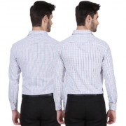 Dudlind Set of 2 Formal Full Sleeves Regular Fit Check Shirt for Men Multicolour | Combo of 2 Mens Shirts for Office and Business