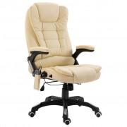 vidaXL Масажен офис стол, кремав, изкуствена кожа