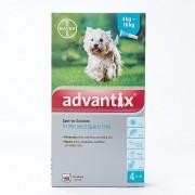 ADVANTIX pour taille moyenne chiens de 4 à 10kg (8,8-22lbs), Pack 4