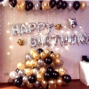 Happy Birthday Letter Foil Balloon Set of 13 Letters (Silver)+HD Metallic Balloons (Black Gold and Silver) Pack of 50