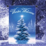 30x45cm Winter Welcom Tree Polyester Welcome Flag Garden Holiday Decoration