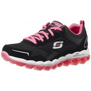 Skechers Women's Skech-Air RF Black and Hot Pink Leather Multisport Training Shoes - 4 UK/India (37 EU) (7 US)