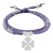 Les Poulettes Bijoux Bracelet Double Tour Lien Liberty et Trèfle Argent - Colors - Violet