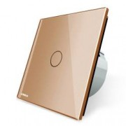Intrerupator simplu wireless cu touch Livolo din sticla Auriu