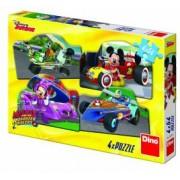 Puzzle 4 in 1 - Mickey Mouse si Minnie la cursa 54 piese