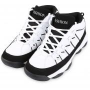 Zapatos Deportivos Casuales De Hombres Lace Up Patchwork Diseño Plataforma -Blanco