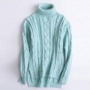 Suéter Para Mujer Con El Cuello Alto De Estilo Holgado - Azul