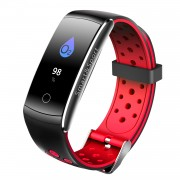 Q8S 0.96-inch Colorful Display IP68 Bluetooth 4.0 Sport Wristband with Heart Rate/Blood Pressure/Blood Oxygen Monitor - Red