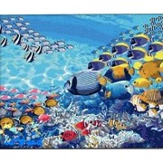 Lovebaby Oil Painting for Adults Kids Paint By Number Kit Digital Oil Painting The Underwater World 16X20 Inches