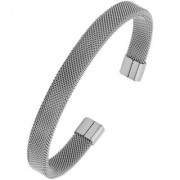 Slim Mesh Silver Plated 316L Surgical Stainless Steel Free Size Cuff Kada Bangle Bracelet For Men