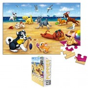 Floor Puzzles 48 Piece Giant Floor Puzzle, Puppies At The Beach Jumbo Preschool Jigsaw Puzzles, Floor Puzzles for Kids Ages 3-5, 1.9 x 2.9 Feet