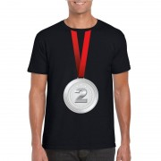 Bellatio Decorations Zilveren medaille kampioen shirt zwart heren
