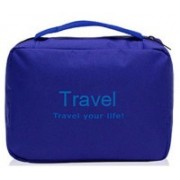 Everbuy Travel your life! womens Ladies toiletry storage bag hanging folding cosmetic organizer large capability pouch - Blue Travel Toiletry Kit(Blue)