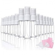 DIY Crafts Clear Plastic Fine Mist Spray Bottle with 2 Funnels and 1 Cleaning Cloth 10/20ml(Pack of 20 pcs)