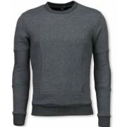 Black Number 3D Ribbel Square Crewneck - Sweater - Grijs