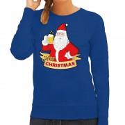 Bellatio Decorations Foute kersttrui blauw kerstman met een peul bier voor dames