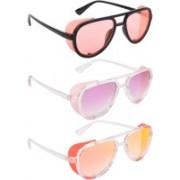 NuVew Aviator, Shield Sunglasses(Orange, Violet, Red, Golden)