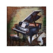 Tablou metal 3D Piano Gri taupe