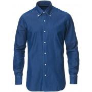 Barba Napoli Slim Fit Button Down Denim Shirt Indigo