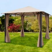 Intent24.fr Tonnelle de jardin 3x3m Polyester mit PVC-Beschichtung 280 g/m² taupe imperméable
