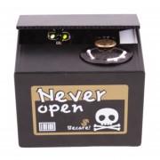 Alcancía Roba Monedas Calavera Para Halloween - Negro