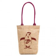 H&B Eco-friendly vintage waterproof jute shoulder bag(Be cool,size 11x13x3 inch) (Maroon)