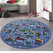 Champion Rugs Kids / Baby Room / Daycare / Classroom / Playroom Area Rug - Great for Playing with Cars - Play, Learn and Have Fun Safely (8 Feet X 8 Feet Round)