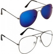 NuVew Aviator Sunglasses(Golden, Clear, Blue, Violet)