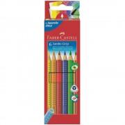 Creioane colorate Jumbo 6 culori/set FABER-CASTELL Grip, FC110906