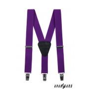 Chlapecké šle fialové s koženým středem a zapínáním na klipy Avantgard 862-901723-120
