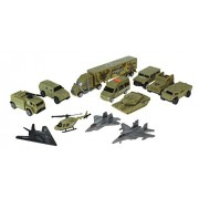 Special Forces Toy Military Vehicle Playset w/ Tank, 6 Vehicles, 3 Military Jets, Helicopter, & Trailer Truck