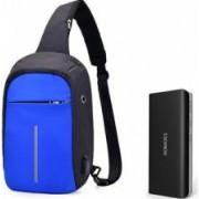 Baterie externa Romoss Solo 5 10000 mAh negru+mini-Rucsac antifurt albastru cu port USB extern incarcare telefon