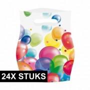 Geen 24x Uitdeelzakjes met ballonnen opdruk plastic 16x23cm