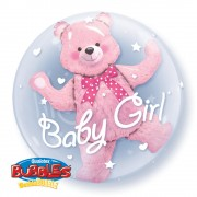 Balon double bubble 61cm qualatex, baby pink bear, 29488