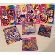 Lisa Frank Diva Fashions Dress Up Sticker Dolls Stickers Puzzle Stencils Glitter Art Activities 8 Pc Collection