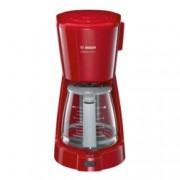 Ръчна шварц кафемашина Bosch TKA3A034, 1100W, 1.25 л воден резервоар, aвтоматично изключване, червена