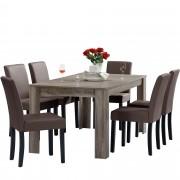 PremiumXL - [en.casa] Blagovaonski stol - rustični hrast - 160x90 cm - sa 6 tapeciranih stolica - smeđe -