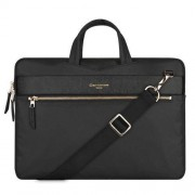 13.3 inch Cartinoe Fashion London Style Exquisite Zipper Portable Handheld Nylon+PU Laptop Bag with Removable Shoulder Strap for MacBook Lenovo and other Laptops Internal Size:36.0x25.0x2.5cm(Black)