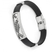 Sullery Mens Black Silicone Bracelets Cool Male Stainless Steel Bracelet Wristb Cuff Bangle