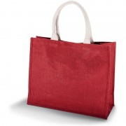 Kimood Jute rode shopper/boodschappen tas 42 cm