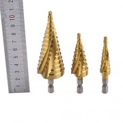 ELECTROPRIME Set of 3pcs HSS Step Cone Drill Drills Bit Cutter Tools 3-12mm/4-20mm/4-32mm