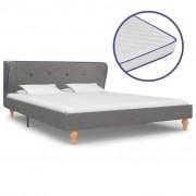 vidaXL Легло с матрак от мемори пяна, светлосиво, плат, 140x200 см