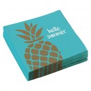 Merkloos 20x stuks Ananas fruit thema servetten 33 x 33 cm